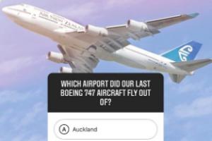 AirNZ inflight quiz now on Instagram