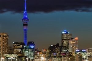 SkyCity lights tower blue to acknowledge frontline workers